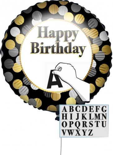 Ballon personnalisable Happy Birthday Noir et Or 43 cm-1