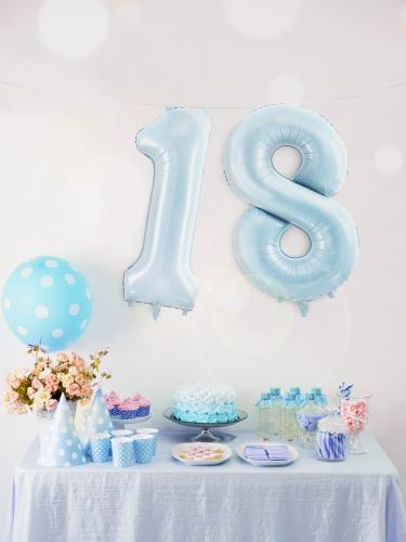 Ballon géant chiffre bleu pastel 86 cm-2