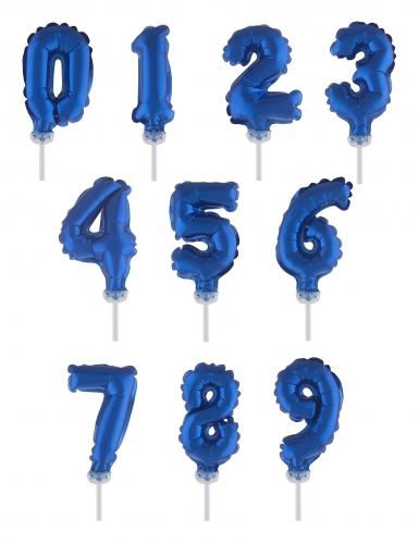 Cake topper ballon chiffre bleu foncé 12,7 cm