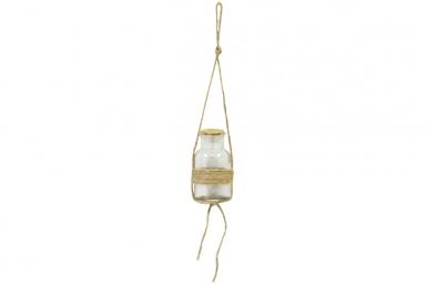 Pot en verre avec corde et bouchon en liège à suspendre 10 x 5,5 cm