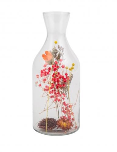 Bouteille avec fleurs séchées colorées 11 x 27,5 cm