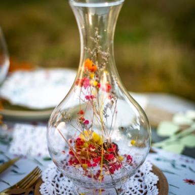 Vase avec fleurs séchées colorées 14 x 27 cm-1