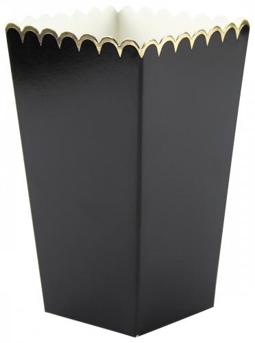 8 Boîtes à pop-corn noires et or 12,5 x 7 cm