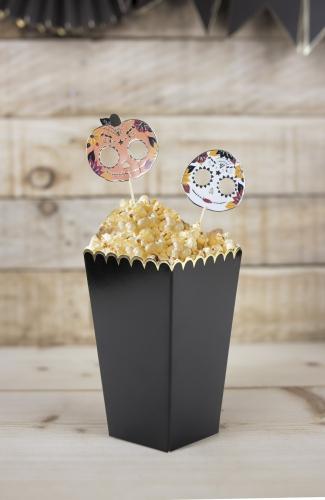 8 Boîtes à pop-corn noires et or 12,5 x 7 cm-1