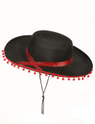 Chapeau espagnol noir et rouge