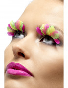 Faux cils plumes fluo adulte