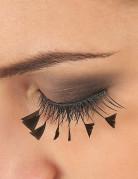 Faux cils courts noirs avec petites plumes noires adulte