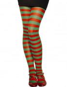 Collants rayés rouge et vert femme