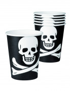 6 Gobelets pirate noir et blanc