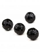 4 Mini boules à facettes noires 3,5 cm