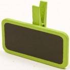 6 Pinces à linge avec une mini ardoise vertes 4 x 2 cm