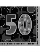 16 Serviettes en papier Age 50 ans grises 33 x 33 cm