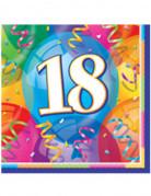 16 Serviettes en papier Joyeux Anniversaire 18 ans 33 x 33 cm