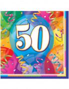 16 Serviettes en papier Joyeux Anniversaire 50 ans 33 x 33 cm