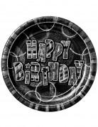 8 Assiettes en carton Happy Birthday gris métallisées 23 cm