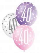6 Ballons en latex roses, violets et blancs 40 ans