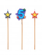 Bougie chiffre 5 étoiles