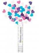 Canon à confettis mariage coeurs rose, blanc, bleu et violet