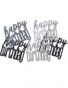 Confettis gris/noir Happy Birthday