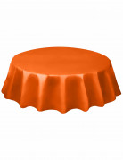 Nappe ronde orange en plastique 213 cm