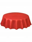 Nappe jetable ronde en plastique rouge 2m13