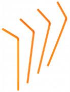 50 Pailles flexibles oranges