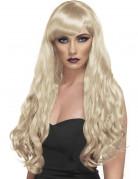 Perruque longue ondulée blonde femme
