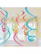 Décorations spirales à suspendre multicolores