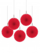 5 Mini rosaces rouges 15 cm