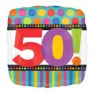 Ballon aluminium carré 50 ans Rayures et pois