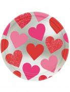 8 Assiettes Coeurs en carton 23 cm