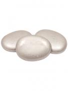 10 Marque-places galets de verre argentés 4.5 cm