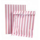 10 Sachets papier rayés roses et blancs Pink party