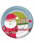 8 Grandes assiettes en carton Père Noël rétro 26 cm