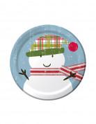 8 Petites assiettes en carton Père Noël rétro 18 cm