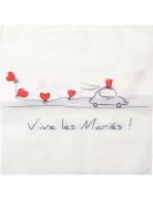 20 Serviettes en papier Vive les mariés 33 x 33 cm