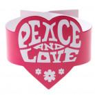 6 Ronds de serviette fuchsia Hippie Peace and Love