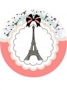 8 Assiettes en carton Tour Eiffel Parisienne 23 cm