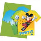 6 Cartes d'invitation avec enveloppes Mickey foot™