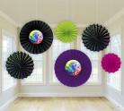 6 Décorations rosaces en papier Disco Boule à facettes