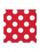 16 Petites serviettes en papier rouges à pois blancs 25 x 25 cm