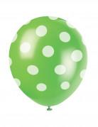 6 Ballons en latex verts à pois blanc 30 cm
