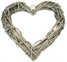 Cœur en osier naturel grisé 20 cm