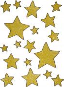 Décoration pour fenêtres étoiles dorées Noël