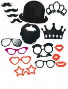 Kit photobooth 17 accessoires rouge et noir