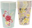 12 Gobelets en carton fleurs thé entre copines 8.5 cm