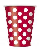 6 Gobelets rouges à pois blancs 355 ml