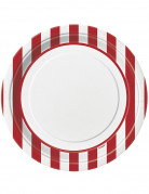 8 Assiettes blanches à rayures rouges en carton 23 cm