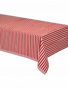 Nappe en plastique à rayures rouges et blanches 137 x 274 cm