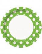 8 Assiettes vertes à pois blancs en carton 23 cm
